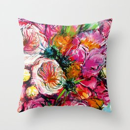 pink bouquet with two white buttercups Throw Pillow