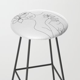 Minimal Line Art Woman with Flowers IV Bar Stool