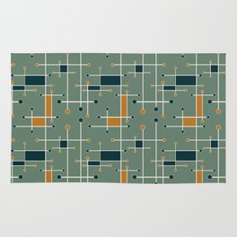 Intersecting Lines in Olive, Blue-green and Orange Rug