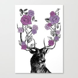The Stag and Roses | Lilac | Purple Canvas Print