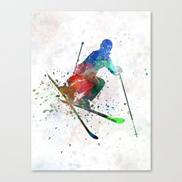 woman skier freestyler jumping Canvas Print