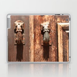 Antique wooden door with hand knockers Laptop & iPad Skin