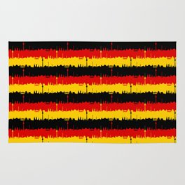 Dresden Germany Skyline Flag Repeating German Flag Fed, Gold and Black Colors Rug