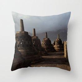 borobodur buddhist temple 3 Throw Pillow