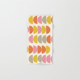 Cute Geometric Shapes Pattern in Pink Orange and Yellow Hand & Bath Towel
