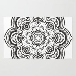 Mandala White & Black Rug