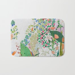 Painterly Floral Jungle on Pink and White Bath Mat