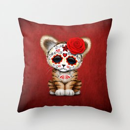 Red Day of the Dead Sugar Skull Tiger Cub Throw Pillow