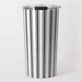 Black and White English Rose Trellis in Mattress Ticking Stripe Travel Mug