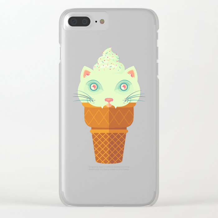 Strawberry-Mint Cat Clear iPhone Case