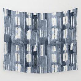 Simply Shibori Lines in Indigo Blue on Lunar Gray Wall Tapestry