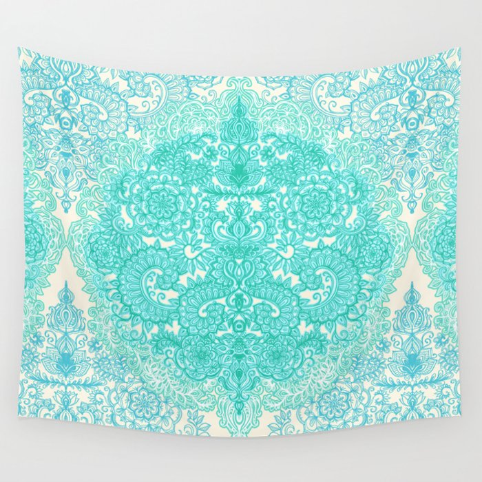 Happy Place Doodle In Mint Green Amp Aqua Wall Tapestry By