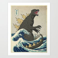 The Great Godzilla off Kanagawa Art Print