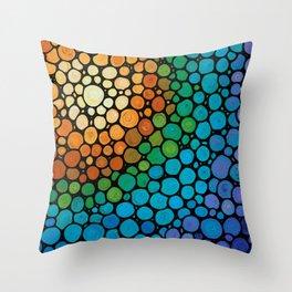 Blissful - Colorful Mosaic Art - Sharon Cummings Throw Pillow
