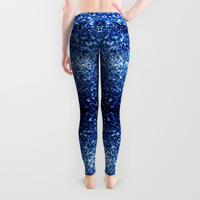 Beautiful Dark Blue glitter sparkles Leggings