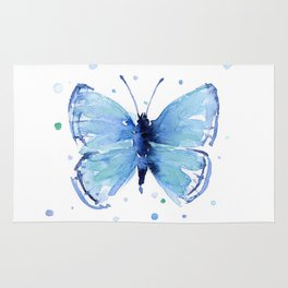 Blue Butterfly Watercolor Butterflies Animals Rug