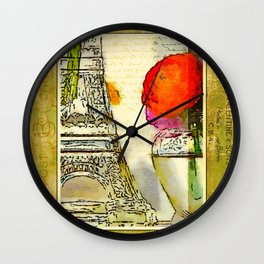 Persian Buttercup (Ranunculus asiaticus) and Eiffel Tower Water Color Collage Wall Clock