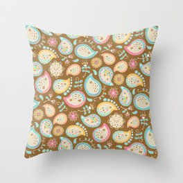 Hedgehog Paisley_Colors and Cocoa Throw Pillow