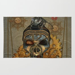 Steampunk, awesome steampunk skull with steampunk rat Rug