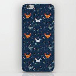 Little Hens (blue) iPhone Skin