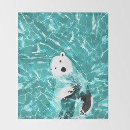 Playful Polar Bear In Turquoise Water Design Throw Blanket
