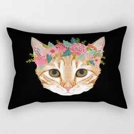 Orange Tabby cat breed with floral crown cute cat gifts cat lady must haves Rectangular Pillow