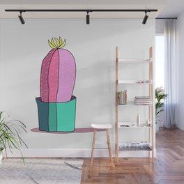 Pink and Green Cactus Drawing Wall Mural