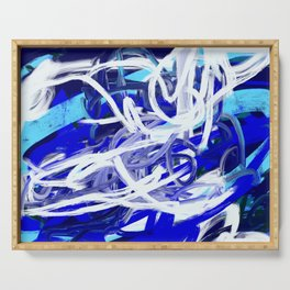 Blue & White Abstract Serving Tray