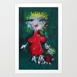 Girl and Her Doll Art Print