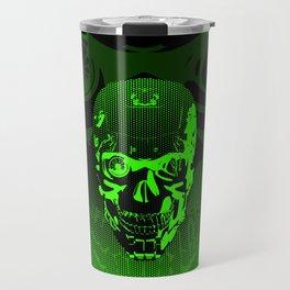Gamer Skull CARTOON GREEN / 3D render of cyborg head Travel Mug