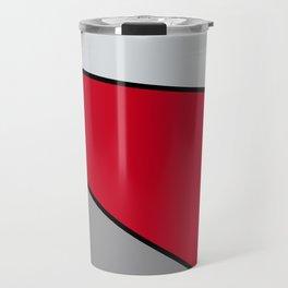 Diagonal Color Blocks in Red and Grays Travel Mug