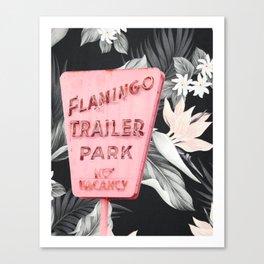 Flamingo Trailer Park Floral Canvas Print