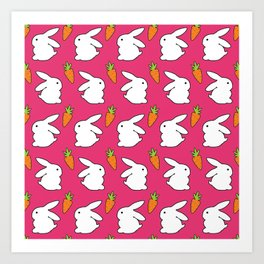 Rabbit & Carrot Art Print