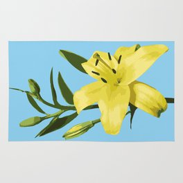 Yellow Lily on Sky Blue Background Illustrated Print Rug