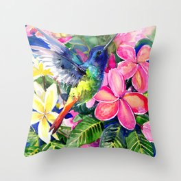 Hummingbird and Plumerias Throw Pillow