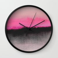 black Wall Clocks featuring Double Horizon by Georgiana Paraschiv