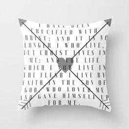 Galatians 2:20 | Scripture Print Throw Pillow