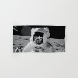 Apollo 12 - Face Of An Astronaut Moon Selfie Hand & Bath Towel