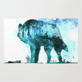 Double Exposure Wolf / Full Moon Wolves / Dark Forest Witch / Galaxy Space Wolf Rug