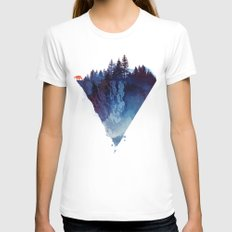 Near to the edge Womens Fitted Tee MEDIUM White