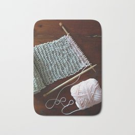 knitting, knitting photos, oatmeal color, peach, natural color, scarf, cotton Bath Mat