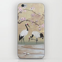 Cranes Under Cherry Tree iPhone Skin