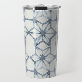 Simply Shibori Stars in Indigo Blue on Lunar Gray Travel Mug