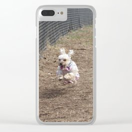 Racing Penny the Yorkipoo Clear iPhone Case