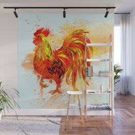 Rooster Painting Wall Mural