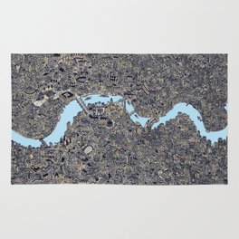 London color map city drawing illustration Thames Rug