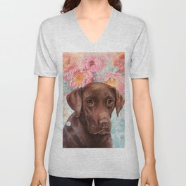 Flowers and Chocolate (chocolate lab dog watercolor portrait painting) Unisex V-Neck