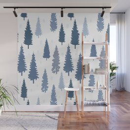 Pines and snowflakes pattern Wall Mural