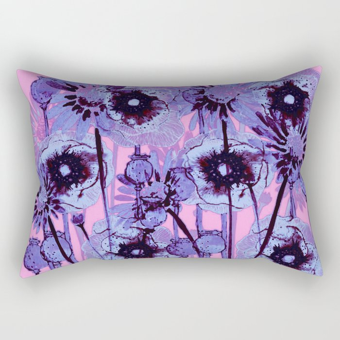 Blue flowers on pink background rectangular pillow by clemm society6 blue flowers on pink background rectangular pillow mightylinksfo