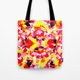psychedelic geometric triangle polygon abstract pattern in red pink yellow Tote Bag